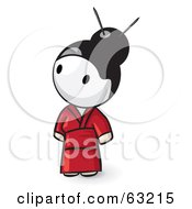 Royalty Free RF Clipart Illustration Of A Human Factor Geisha Woman In Red Looking Up To The Left by Leo Blanchette