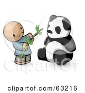 Royalty Free RF Clipart Illustration Of A Human Factor Chinese Man Feeding A Panda Bear