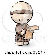 Royalty Free RF Clipart Illustration Of A Human Factor Monk Reading A Scroll Letter