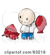 Royalty Free RF Clipart Illustration Of A Human Factor Man Holding Up A Red Fish by Leo Blanchette