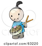Royalty Free RF Clipart Illustration Of A Human Factor Chef Serving Saimin Noodles