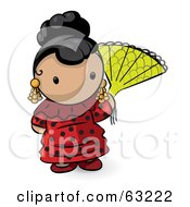 Royalty Free RF Clipart Illustration Of A Human Factor Spanish Woman With A Fan by Leo Blanchette