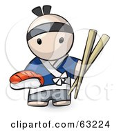 Royalty Free RF Clipart Illustration Of A Human Factor Male Japanese Chef With Sushi And Chopsticks by Leo Blanchette