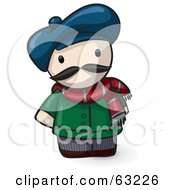 Royalty Free RF Clipart Illustration Of A Human Factor French Guy Wearing A Hat And Scarf by Leo Blanchette