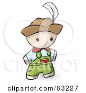 Royalty Free RF Clipart Illustration Of A Human Factor Swiss Man In Overalls And A Hat by Leo Blanchette
