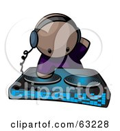 Royalty Free RF Clipart Illustration Of A Human Factor Dj Mixing Beats by Leo Blanchette