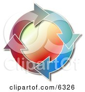 Colorful Recycle Arrows Moving In A Circular Clockwise Motion Clipart Picture