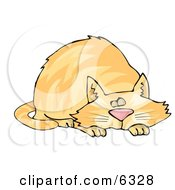 Chubby Orange Tabby Cat Taking A Cat Nap Clipart Picture by djart