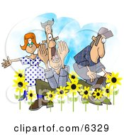People Announcing Spring Has Sprung Clipart
