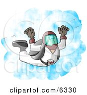 Male Skydiver Falling To Earth From The Sky Clipart