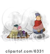 Dad Pulling Kids On A Snow Sled Clipart by djart