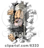 Arab Criminal Usama Bin Laden Hiding In A Cave Clipart Illustration