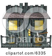 Clipart Of An Old Creepy Wood Shed Or Western Saloon Building Royalty Free Illustration by Dennis Cox