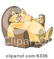 Funny Human Like Cat Sitting On A Recliner Chair With A Can Of Beer Clipart Picture