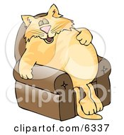 Anthropomorphic Cat Napping On A Recliner Chair Clipart Picture