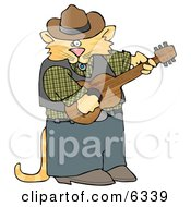 Anthropomorphic Cowboy Cat Playing Country Music On An Acoustic Guitar