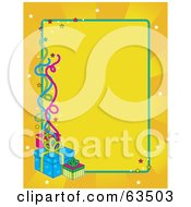 Royalty Free RF Clipart Illustration Of A Blank Yellow Birthday Background With Bursts Stars Streamers And Presents by Maria Bell