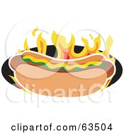 Mustard And Relish Topped Hot Dog Over Flames
