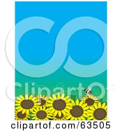 Royalty Free RF Clipart Illustration Of A Little Bee Flying Over A Field Of Sunflowers On A Gradient Blue Background by Maria Bell