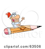 Royalty Free RF Clipart Illustration Of A Freelancer Knight Man Riding A Giant Pencil