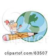 Royalty Free RF Clipart Illustration Of A Freelancer Knight Man Riding On A Giant Pencil Over A Globe
