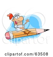 Royalty Free RF Clipart Illustration Of A Freelancer Knight Man Riding On A Giant Pencil Over Blue