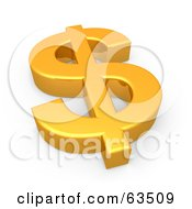 Royalty Free RF Clipart Illustration Of A 3d Shiny Golden Dollar Symbol Resting Flat by 3poD