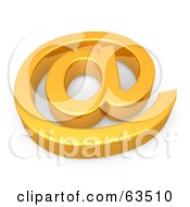 Royalty Free RF Clipart Illustration Of A 3d Shiny Golden Arobase Symbol Resting Flat by 3poD