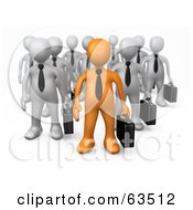 Royalty Free RF Clipart Illustration Of An Orange Business Person Leading A Group Of Gray Men