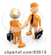 Orange Businessman With A Globe Head Shaking Hands With A Dollar Head Man