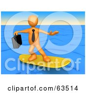 Royalty Free RF Clipart Illustration Of An Orange Surfing Businessman Person On Blue Water