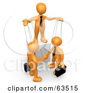 Royalty Free RF Clipart Illustration Of An Orange Person Controlling Business Men On Strings by 3poD