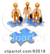 Three Orange Business People Standing On Connected Puzzle Pieces Looking At A New Piece