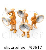 Group Of Orange People With Megaphone Heads