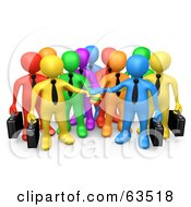 Royalty Free RF Clipart Illustration Of A Group Of 3d Colorful Diverse Business Men Stacking Their Hands
