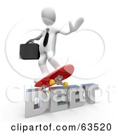 Royalty Free RF Clipart Illustration Of A White Businessman Person Skateboarding On Debt by 3poD