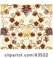 Royalty Free RF Clipart Illustration Of A Seamless Grape Vine Background With Autumn Leaves Fruit And Urns On Beige