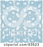 Royalty Free RF Clipart Illustration Of A Seamless Blue Geometric Floral Background