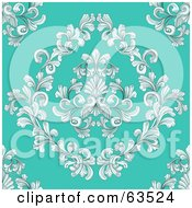 Royalty Free RF Clipart Illustration Of A Seamless Victorian Retro Floral Design Background On Turquoise