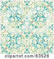 Royalty Free RF Clipart Illustration Of A Seamless Green Beige And Blue Middle Eastern Floral Background
