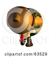 Pete Man Character Carrying A Heavy Globe On His Back