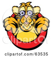 Royalty Free RF Clipart Illustration Of A Cute Tiger Cub Emerging From A Red Circle by Andy Nortnik