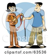 Woman Handing Her Kitty Cats Collar And Leash To A Pet Sitter