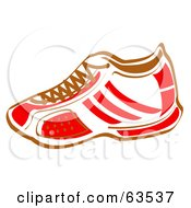 Royalty Free RF Clipart Illustration Of A Red And White Sneaker Shoe With Brown Laces