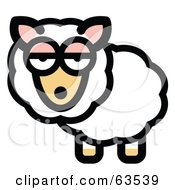 Royalty Free RF Clipart Illustration Of A Bored White Sheep With Fluffy Fleece
