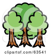 Royalty Free RF Clipart Illustration Of Three Mature And Lush Trees by Andy Nortnik