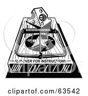 Royalty Free RF Clipart Illustration Of A Black And White Mousetrap With A Piece Of Cheese And Text Reading Flip Over For Instructions