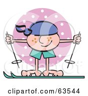 Royalty Free RF Clipart Illustration Of A Freckled Boy Skiing