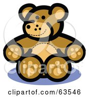 Royalty Free RF Clipart Illustration Of A Happy Brown Stuffed Teddy Bear by Andy Nortnik