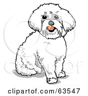 Royalty Free RF Clipart Illustration Of A Sitting Happy White Maltese Dog